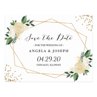 Watercolor Nature Green Gold Floral Save the Date Postcard