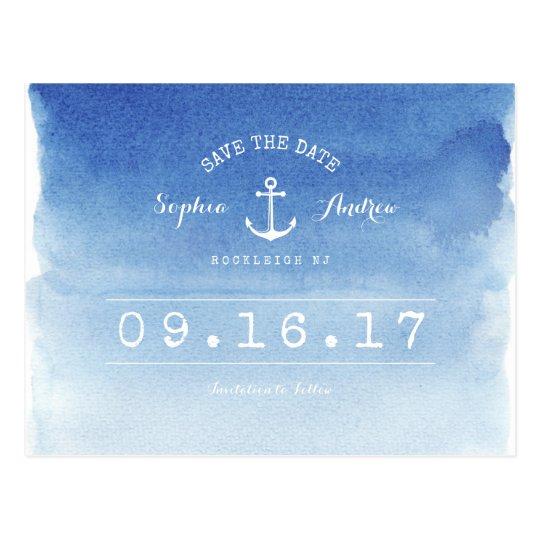 Watercolor nautical beach wedding save the date postcard