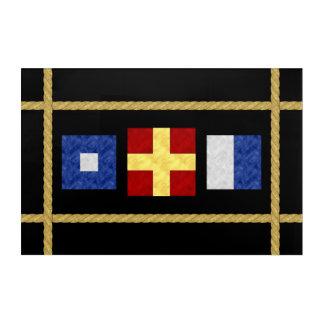 Watercolor Nautical Maritime Signal Flag Monogram Acrylic Wall Art