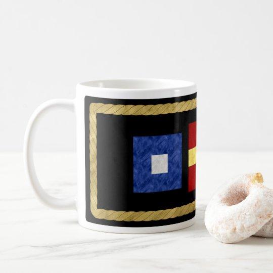 Watercolor Nautical Maritime Signal Flag Monogram Coffee Mug