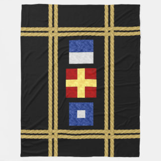 Watercolor Nautical Maritime Signal Flag Monogram Fleece Blanket