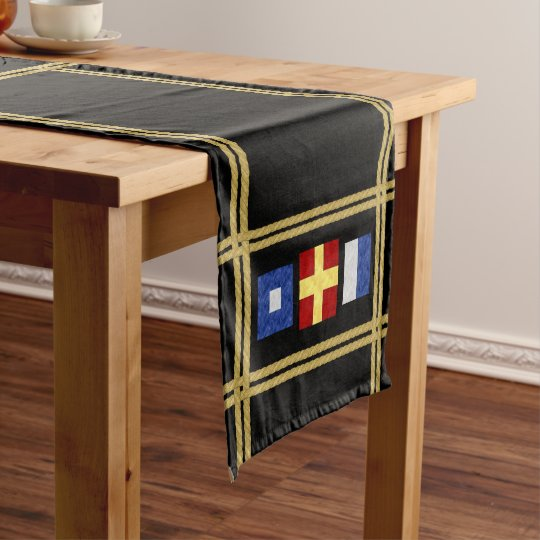 Watercolor Nautical Maritime Signal Flag Monogram Short Table Runner