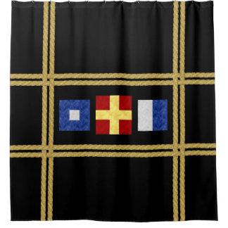 Watercolor Nautical Maritime Signal Flag Monogram Shower Curtain