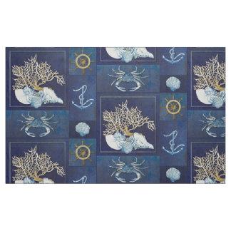 Watercolor Nautical Ocean Coral Anchor Shells Blue Fabric