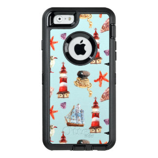 Watercolor Nautical Pattern OtterBox Defender iPhone Case