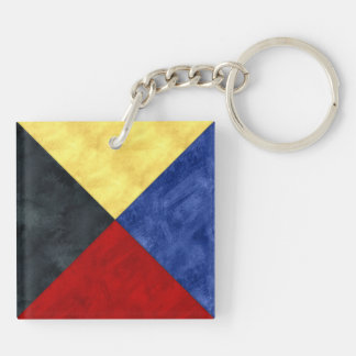 Watercolor Nautical Signal Maritime Flag Key Ring