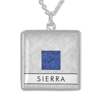 Watercolor Nautical Signal Maritime Flag Sterling Silver Necklace