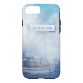 """Watercolor Nautical """"To the Sea"""" iPhone 7 Case"""