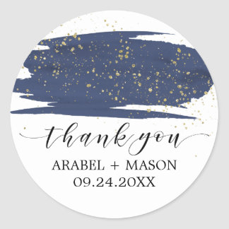 Watercolor Navy and Gold Sparkle Wedding Favor Classic Round Sticker