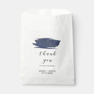 Watercolor Navy and Gold Sparkle Wedding Favour Bags