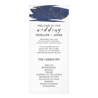 Watercolor Navy and Gold Sparkle Wedding Program Rack Card
