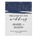 Watercolor Navy and Gold Sparkle Wedding Welcome Poster