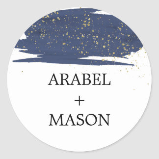 Watercolor Navy and Gold Wedding Envelope Seal