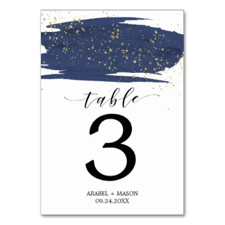 Watercolor Navy and Gold Wedding Table Number