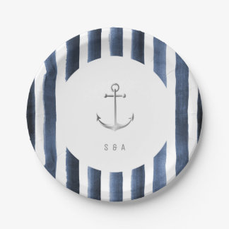 Watercolor navy stripes with anchor beach wedding paper plate