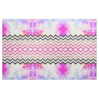 Watercolor nebula space pink ombre wood chevron fabric
