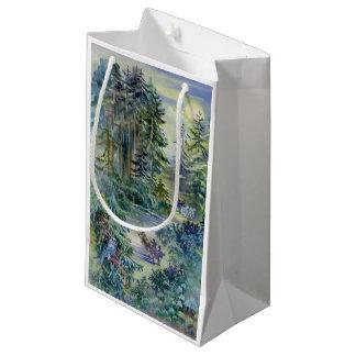 Watercolor Night Scene Small Gift Bag
