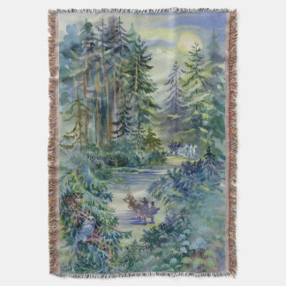 Watercolor Night Scene Woven Throw Blanket