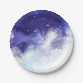 Watercolor Night Sky Abstract Fine Art Paper Plate
