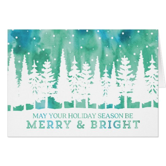 Watercolor Northern Lights Trees Christmas Card