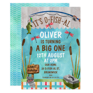 Watercolor O-Fish_Al 1st Birthday Party Invitation
