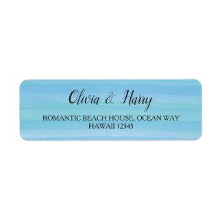 Watercolor Ocean Blue Nautical Beach Wedding Label