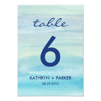 Watercolor Ocean Double-Sided Table Number Card
