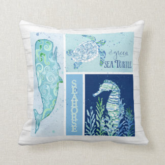Watercolor Ocean Sea Turtle Seahorse Whale Wood Cushion