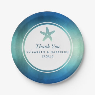 Watercolor Ocean Starfish Beach Wedding 7 Inch Paper Plate