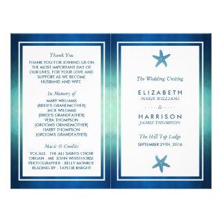 Watercolor Ocean Starfish Beach Wedding Program 21.5 Cm X 28 Cm Flyer