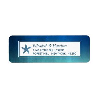 Watercolor Ocean Starfish Beach Wedding Return Address Label