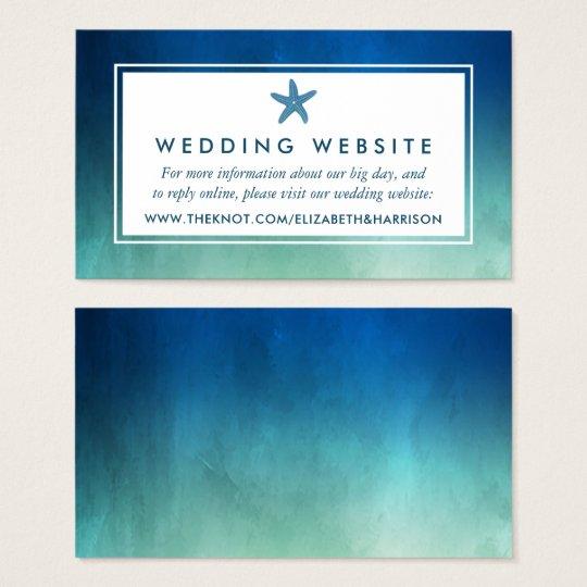 Watercolor Ocean Starfish Beach Wedding Website Business Card