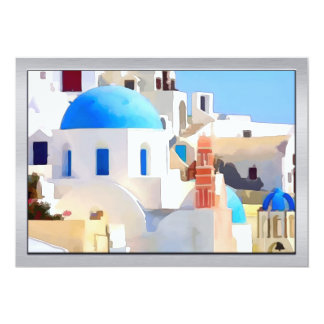 Watercolor of a Greek Town 13 Cm X 18 Cm Invitation Card