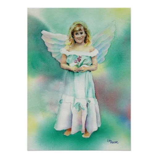 Watercolor of Little Angel Girl Print
