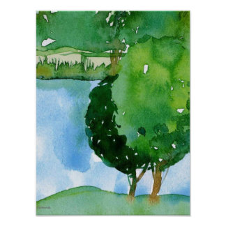 watercolor of tree landscape poster