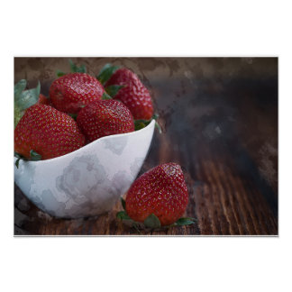 Watercolor of White Bowl of Strawberries on Wooden Poster
