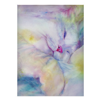 watercolor of  white cat sleeping on a white sheet poster