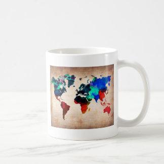 Watercolor old world map cute coffee mug