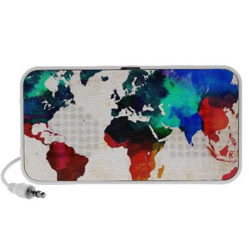 Watercolor old world map cute iPod speakers