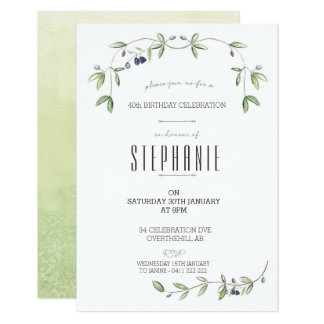 Watercolor Olive leaf vine invitation