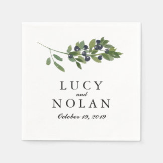 Watercolor Olive Orchard | Wedding Reception Disposable Serviettes