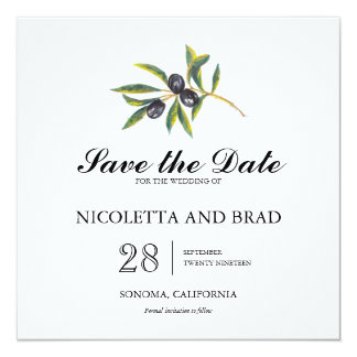 Watercolor Olive Tree Branch | Save the Date 13 Cm X 13 Cm Square Invitation Card