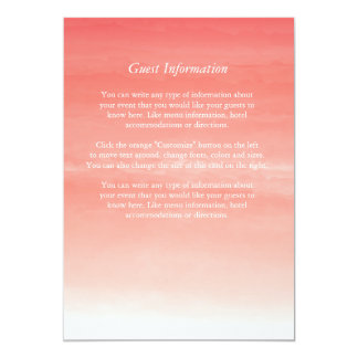 Watercolor Ombre Wedding Info or Menu Card