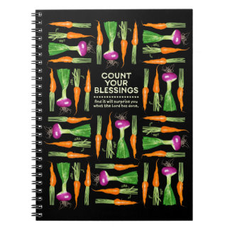 Watercolor Onion and Carrots Gratitude Spiral Notebook