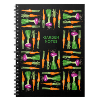 Watercolor Onion and Carrots Spiral Note Books