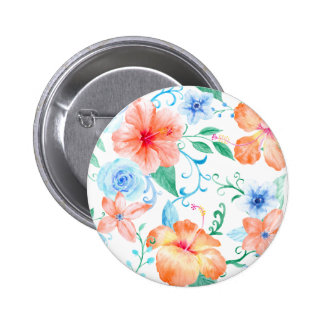 Watercolor Orange and Blue Flower Pattern 6 Cm Round Badge