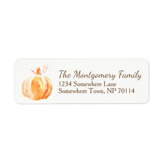 Watercolor Orange Fall Harvest Pumpkin Return Address Label