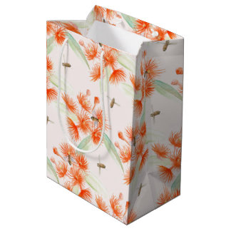 Watercolor orange gum Corymbia ficifolia gift bag