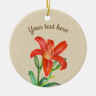 Watercolor Orange Lily Floral Art Christmas Ornament
