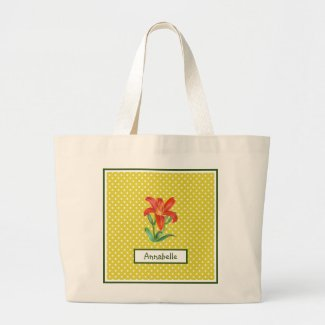 Watercolor Orange Lily Lemon Green Polka Dots Large Tote Bag